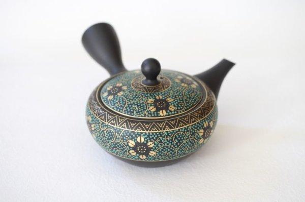 Photo1: Tokoname Japanese tea pot kyusu YT Shohou aochibu blue gold 260ml