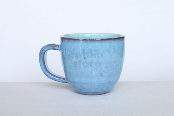 Photo2: Hagi yaki ware Japanese pottery mug coffee cup megumi blue 340ml