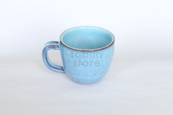 Photo1: Hagi yaki ware Japanese pottery mug coffee cup megumi blue 340ml