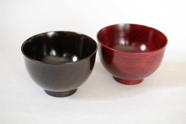 Photo1: Japanese Echizen Urushi lacquer soup bowl wan sakurazai D11.2cm set of 2