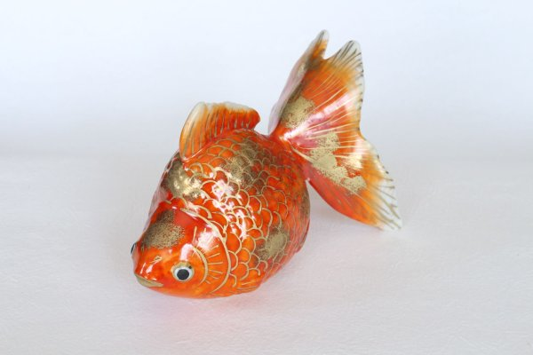 Photo1: Japanese Goldfish Statue Figurine Kutani Porcelain red sai W16cm