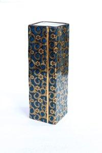 Kutani porcelain Aotibu Japanese bud vase H18.5cm with stand