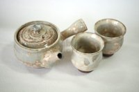 Hagi ware Japanese tea pot cups set Seigan pottery tea strainer gohonte 400ml