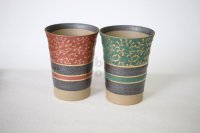 Kutani porcelain Japanese Bar Mugs M3 Kin-karakusa gold green red set of 2