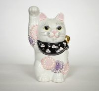 Maneki Neko Japanese Lucky Cat Kutani Porcelain flower pink-purple H14cm