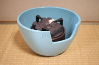 Electric charcoal Japanese tea ceremony blue seiji pottery benibachiburo