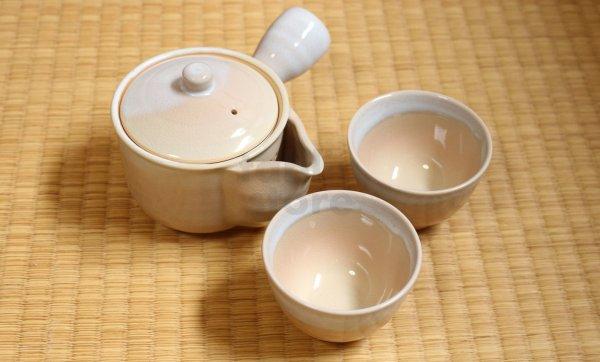 Photo2: Hagi yaki ware Japanese tea pot cups set Himec with stainless tea strainer 340ml