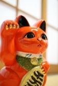 Photo1: Japanese Lucky Cat Tokoname ware YT Porcelain Maneki Neko koban right red H19cm (1)