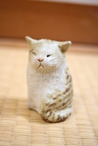 sit cat neko Shigaraki pottery Japanese doll S H7.5cm