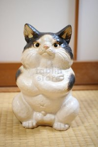 Shigaraki Japanese pottery figurine Boss cat H 22.5 cm