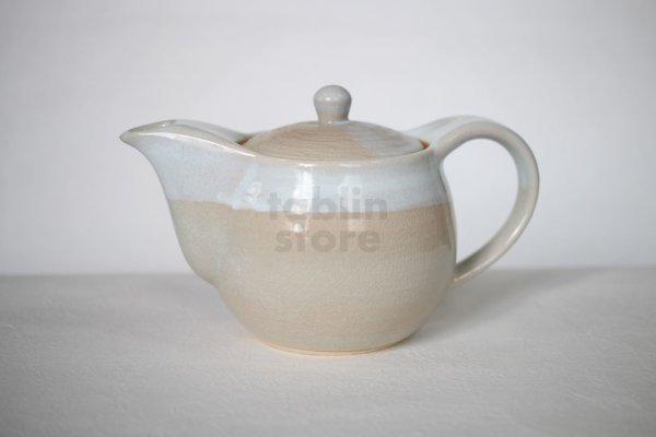 Photo1: Hagi yaki ware Japanese tea pot Hamon with stainless tea strainer 400ml
