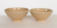 Hagi ware Senryuzan climbing kiln Japanese pottery tea rice bowl set of 2