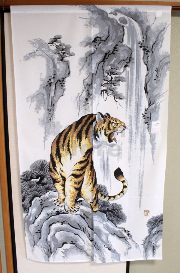 Photo2: Noren ikehiko Japanese door curtain tiger polyester 85 x 150cm