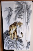 Photo5: Noren ikehiko Japanese door curtain tiger polyester 85 x 150cm