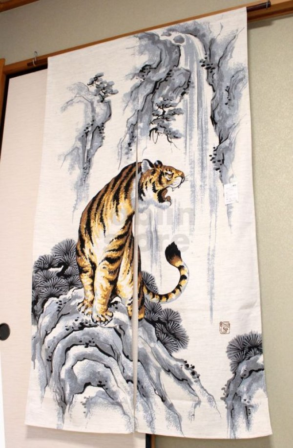 Photo1: Noren CSMO Japanese door curtain tiger cotton 85 x 150cm