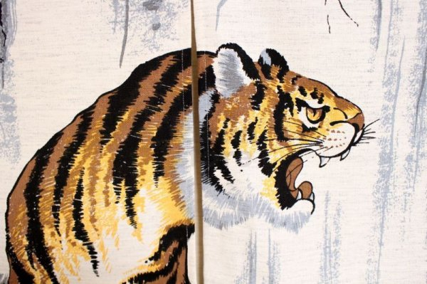 Photo2: Noren CSMO Japanese door curtain tiger cotton 85 x 150cm