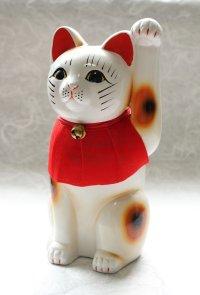 Japanese Lucky Cat Tokoname ware YT Porcelain Maneki Neko slim white H25cm