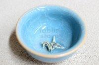 Kiyomizu porcelain Japanese sake guinomi Junzo Okayama seiji blue craze origami bird cup