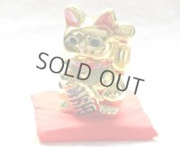 Japanese Lucky Cat YT Tokoname ware Porcelain Maneki Neko Gold r cushion H15cm