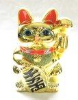 Photo5: Japanese Lucky Cat YT Tokoname ware Porcelain Maneki Neko Gold r cushion H15cm