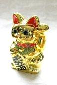 Photo3: Japanese Lucky Cat YT Tokoname ware Porcelain Maneki Neko Gold r cushion H15cm