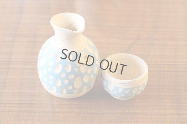 Photo2: Tokoname Japanese sake bottle cup set YT Kenji Tokkuri guinomi polka-dot blue