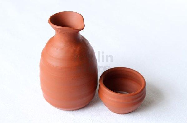 Photo1: Tokoname Japanese sake bottle and cup set YT Kenji red shudei 220ml