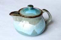 Kutani porcelain Ginsai blue glaze Japanese tea pot