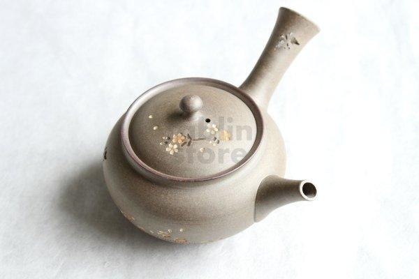 Photo1: Tokoname Japanese tea pot kyusu YT Yakishime butterfly sakura Seiho 300ml