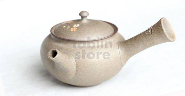 Photo2: Tokoname Japanese tea pot kyusu YT Yakishime butterfly sakura Seiho 300ml