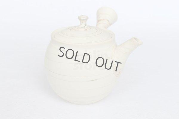 Photo2: Tokoname Japanese tea pot kyusu ceramic strainer Kenji shin nerikomi 360ml