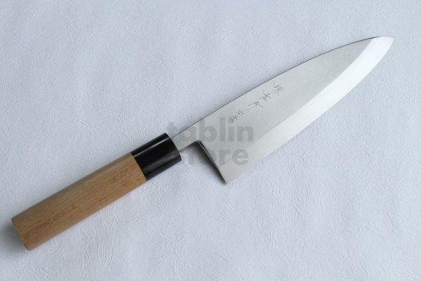 Photo2: Honyaki water quenching SAKAI TAKAYUKI Deba knife Yasuki White-2 steel