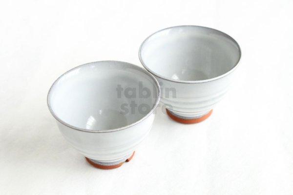 Photo2: Hagi ware Japanese pottery yunomi tea cups haku white glaze 180ml set of 5