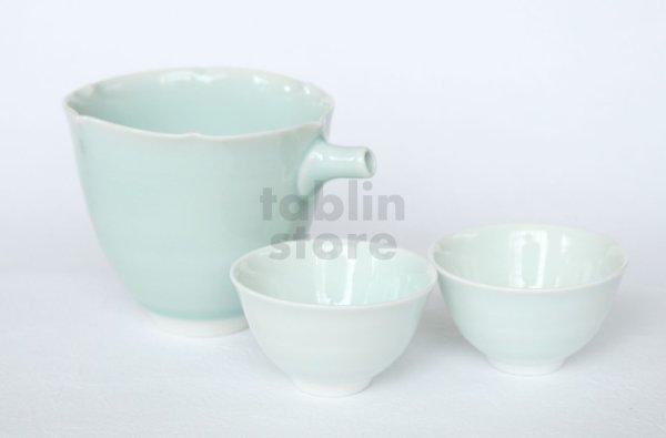 Photo1: Hasami ware Japanese Sake bottle and Sake cup set Seiji light blue glaze