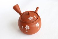 Tokoname Japanese tea pot kyusu Gyokko shudei red sujihiki sakura cherry 310ml