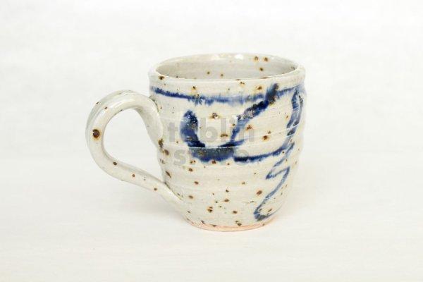 Photo1: Shigaraki ware Japanese pottery tea mug coffee cup mizunone nagare blue 350ml