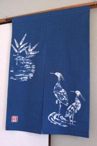 Kyoto Noren SB Japanese batik door curtain Sagi Ardeidae blue 85cm x 120cm