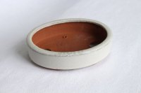 Tokoname Bonsai pot garden tree Japanese pottery oval Yozan Eimei shiro W153mm
