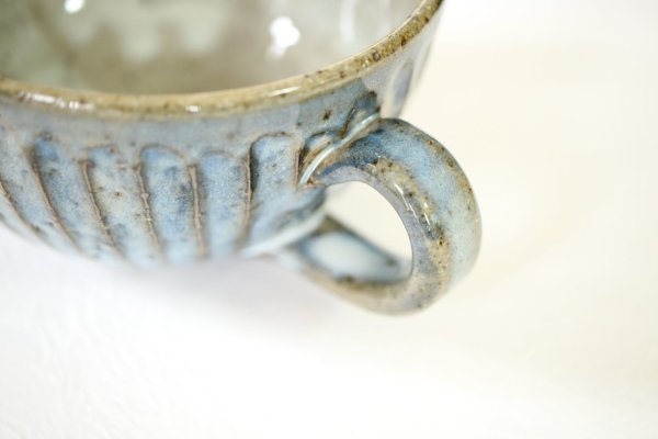 Photo2: Shigaraki sd Japanese pottery tea mug coffee cup Shinogi wide blue 360 ml