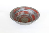 Shigaraki pottery Japanese soup noodle serving bowl Ginsai hira red D160mm