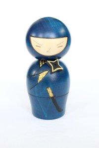 Kokeshi Japanese wooden doll usaburo creative Ninja blue H13 cm