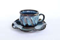 Hagi ware Japanese pottery mug coffee tea cup blue seigan with saucer 220ml