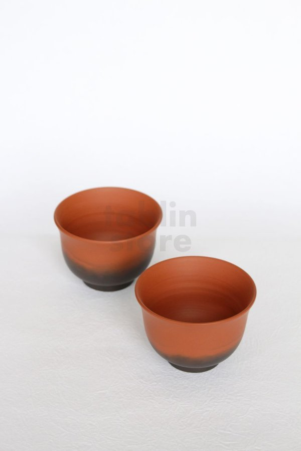 Photo1: Tokoname Japanese Yunomi tea cups Koji Iwase syudei yohen red 85ml set of 2