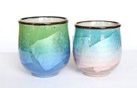 Kutani Porcelain Japanese tea cups yon ginsai nishoku (set of 2)