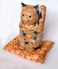 Japanese Lucky Cat Kutani Porcelain Maneki Neko red mori hai H30cm