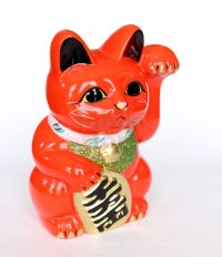Japanese Lucky Cat Tokoname ware YT Porcelain Maneki Neko koban left red H19cm