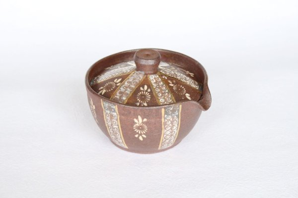Photo2: Kiyomizu pottery Japanese tea pot Shiboridashi Mishima gold Yoshinobu 160ml