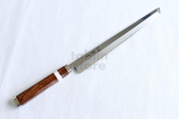 Photo1:  Shiden SAKAI TAKAYUKI Sashimi knife Yasuki silver-3 steel Sakimaru Takobiki