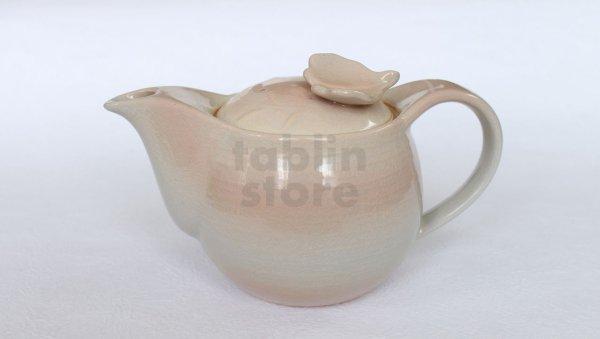 Photo2: Hagi yaki ware Japanese tea pot Mai with stainless tea strainer 390ml