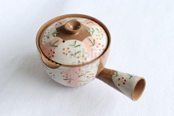 Photo2: Kiyomizu Kyoto kumagai pottery tea pot kyusu flower yokote shiboridashi 420ml